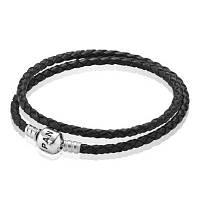 Черный кожаный браслет Pandora в два оборота