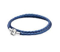 Синий кожаный браслет Pandora в два оборота