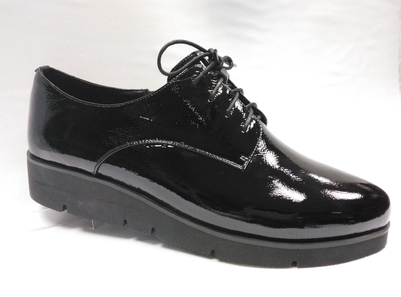 Туфлі чорні лакові Erisses на шнурках, великих розмірів