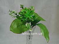 Искусственный зеленый букет с эхеверией и белыми цветочками