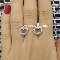 Серебряные серьги Сердечки с камнями