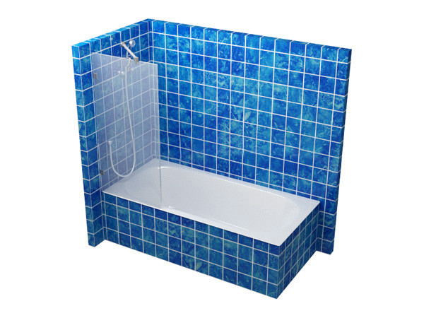 Стеклянная перегородка на ванную 600 мм
