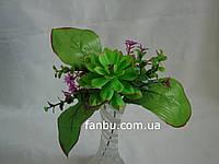 Искусственный зеленый букет с эхеверией и сиреневыми цветочками