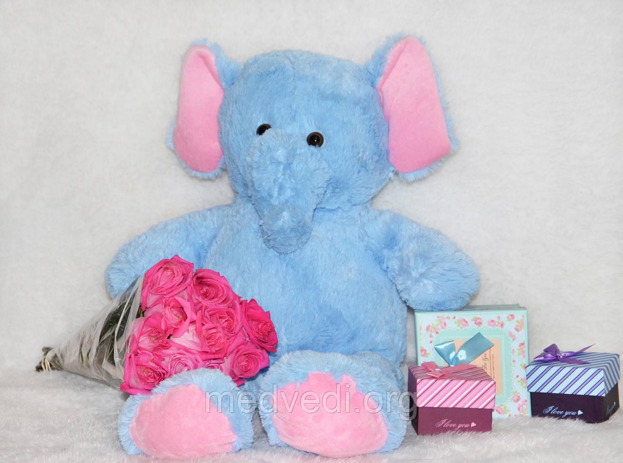 Плюшевый слоник, мягкая игрушка 80 см слон голубой
