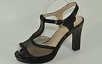 Босоножки черные на каблуке Б567 р 37