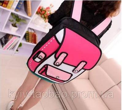 Рюкзак с 2D принтом малиновый с розовым