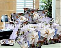 Постельное семейное белье 3D Ranforce - бежевые цветы