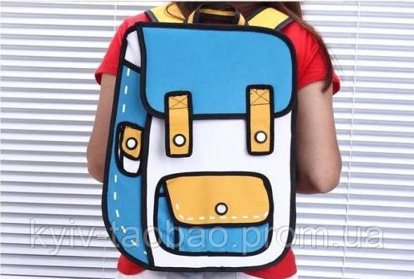 Рюкзак с 2D принтом голубой с желтым