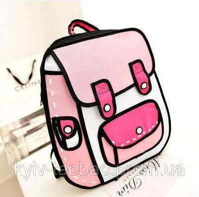 Рюкзак с 2D принтом нежно-розовый
