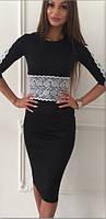 Коктейльное черное платье с кружевными вставками (арт. 234935571)