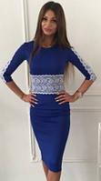 Коктейльное синее платье с кружевными вставками (арт. 234935571)