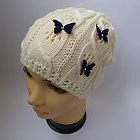 Детская вязаная ажурная шапка для девочки 7-10 лет оптом, фото 1