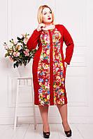 Платье из однотонного дайвинга, с цветочным принтом, со змейкой по всей длине, большого размера 54-60, фото 1