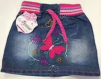 """Детская джинсовая юбка на девочку """"Бабочка"""". 9 мес-2 года. Джинс. Оптом."""