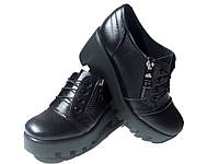 Туфли женские комфорт натуральная кожа черные на шнуровке (123)
