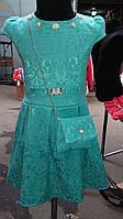 Платье жаккардовое с сумочкой от 6 до 9 лет