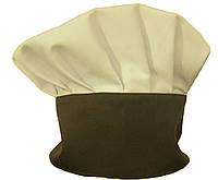 Колпак повара «Французский», шапка поварская бежевая с коричневой стойкой Atteks - 1607
