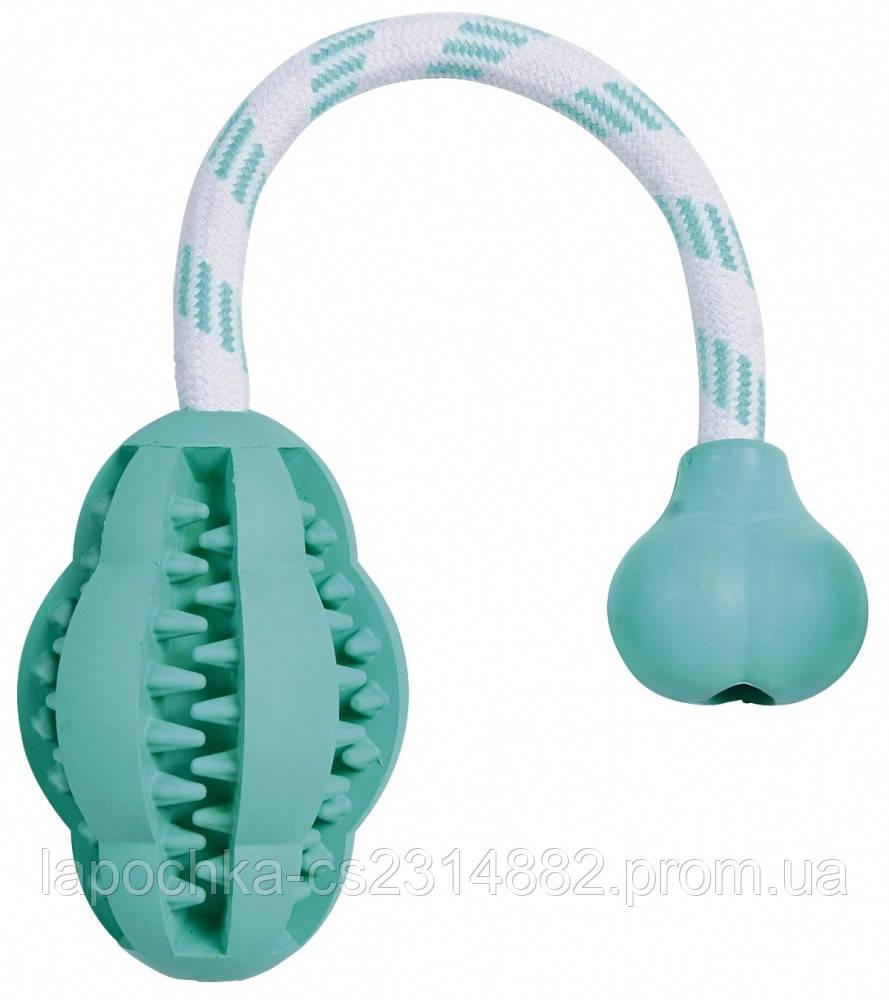 Игрушка для собак Trixie Denta Fun Мяч на верёвке с ручкой, резина 28 см, 8 см