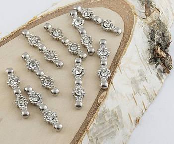 Разделитель на три нитки серебро 30 мм