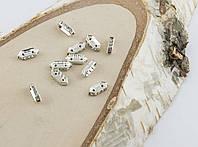 Разделитель на две нитки со сразами серебро 10 мм (товар при заказе от 200 грн)