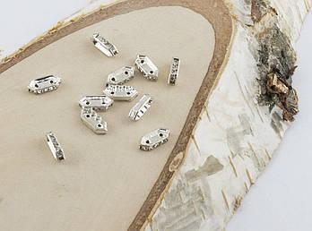 Разделитель на две нитки со сразами серебро 10 мм