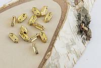 Разделитель на две нитки со сразами золото 10 мм (товар при заказе от 200 грн)