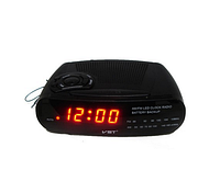 Часы сетевые 906-1 красные, радио FM