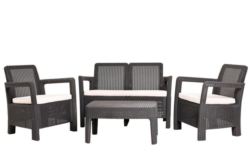 Комплект пластикової плетених меблів Tarifa, сірий