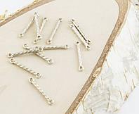 Разделитель на 2 нитки серебро 20 мм 10 штук (товар при заказе от 200 грн)