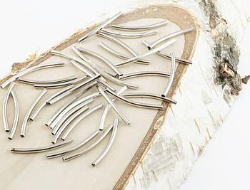 Разделитель трубка серебро рельефное 25 мм, металл 10 штук