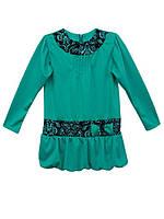 Платье для девочки однотонное бирюзовое