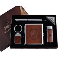 Подарочный набор (4в1) зажигалка/портсигар/брелок/ручка (AL-115)