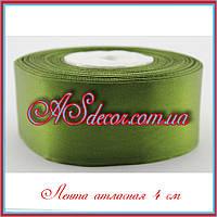 Лента атласная 4 см (23 метра) зеленая оливковая