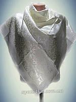 Атласный однотонный платок айвори