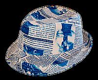 Шляпа челентанка комби бирюзовая газета