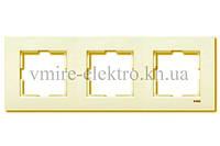 Рамка тройная горизонтальная Viko (Вико) Karre кремовая