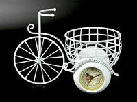 Двойные часы настольные Велосипед с корзинкой