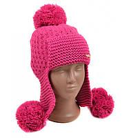 Розовая шапка-ушанка детская