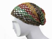 Вязанная шапка-чулок Сетка в полоски в ассортименте