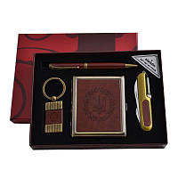 Подарочный набор портсигар/нож/ручка/брелок(кож) (YJ 6420)