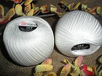 YarnArt Lily  (Ярнарт Лили) 100% мерсеризованный хлопок 1000 белоснежный