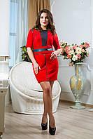 Платье из СтрейчЗамша на Х/Б основе с Перфорацией с Коротким Рукавом Красное S-XXL