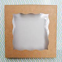 Коробка для пряников 15х15х3см. (с окошком крафт), фото 1