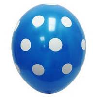 """Воздушный шар Голубой в горошек 12 """""""
