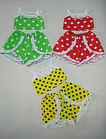 Летний костюмчик для девочки топик и шортики - юбочка от1 год до 6-7 лет