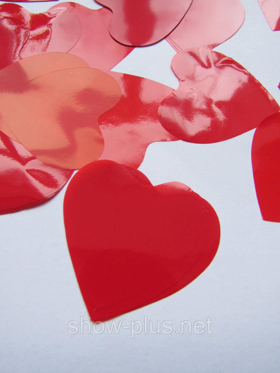 Конфетти: красные двухсторонние матовые сердечки