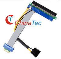 Райзер PCI-E 1X to 16X с питанием шлейф-удлинитель для видеокарты, фото 1