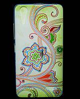 Чехол накладка для Lenovo A6000 силиконовый Diamond, Цветочная роспись