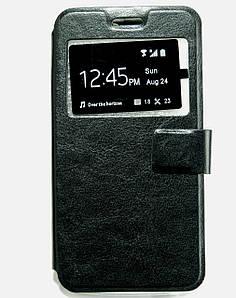 Чехол книжка для Lenovo A5000 боковой с окошком, Черный