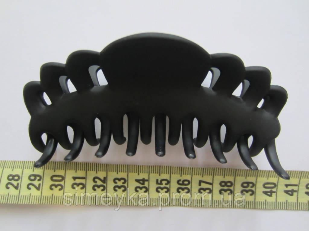 """Заколка """"краб"""" чёрный матовый (прорезиненый пластик), длина 10 см"""